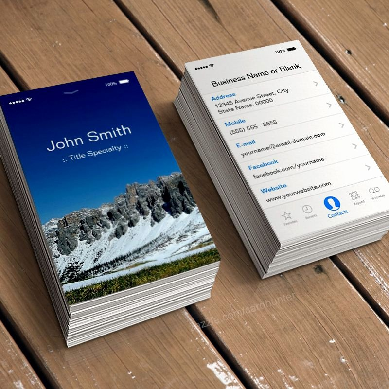 iPhone Business Card Template Awesome iPhone Ios Customizable Flat Ui Style Business Card