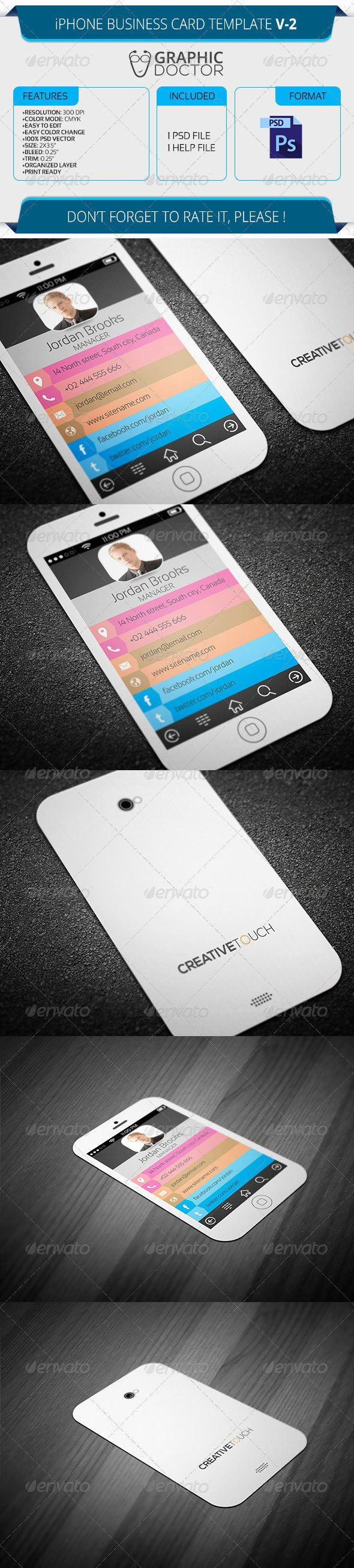 iPhone Business Card Template Luxury iPhone Business Card Template V 2
