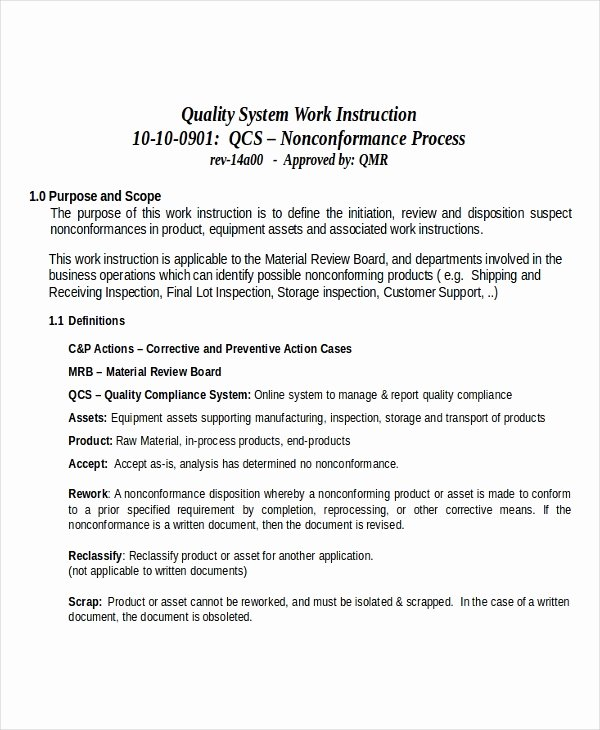 Iso Work Instruction Template New Work Instruction Template for Manufacturing Tier