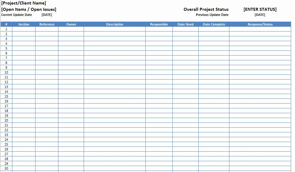 Issue Log Template Excel Awesome Open Items issues Log List Template Excel Xls