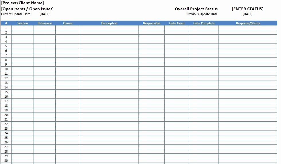 Issue Log Template Excel Fresh Free Excel Open Items Template Download