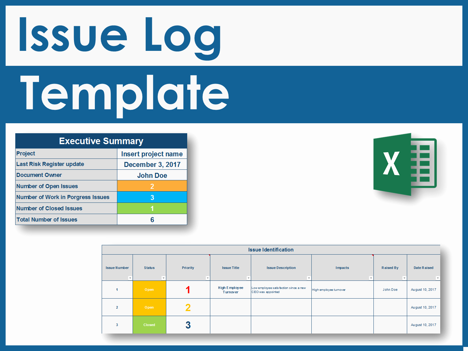 Issue Log Template Excel Inspirational Download An issue Log Excel Template
