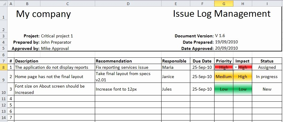Issue Log Template Excel Inspirational Using Traffic Lights In Project Reporting