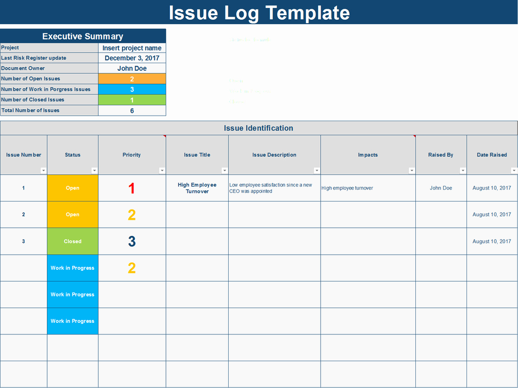Issue Tracking Template Excel Awesome Download An issue Log Excel Template