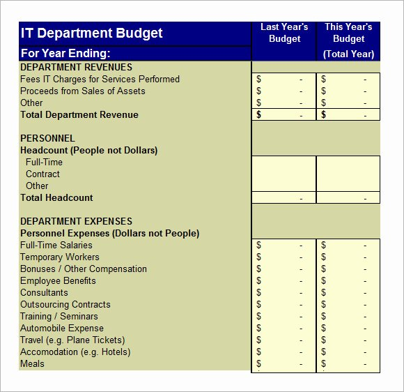 It Budget Template Excel Unique 6 It Bud Templates – Free Samples Examples & format