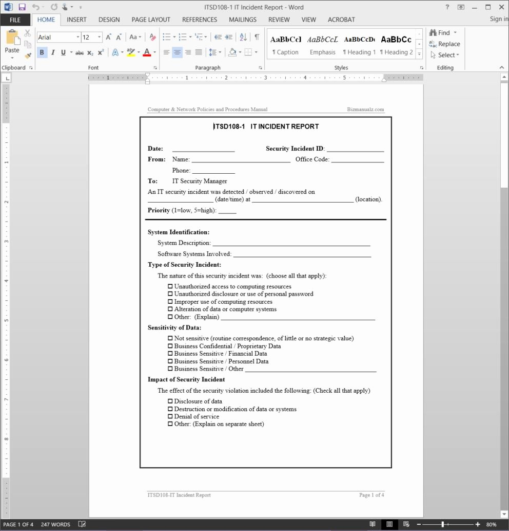 It Incident Report Template Inspirational It Incident Report Template