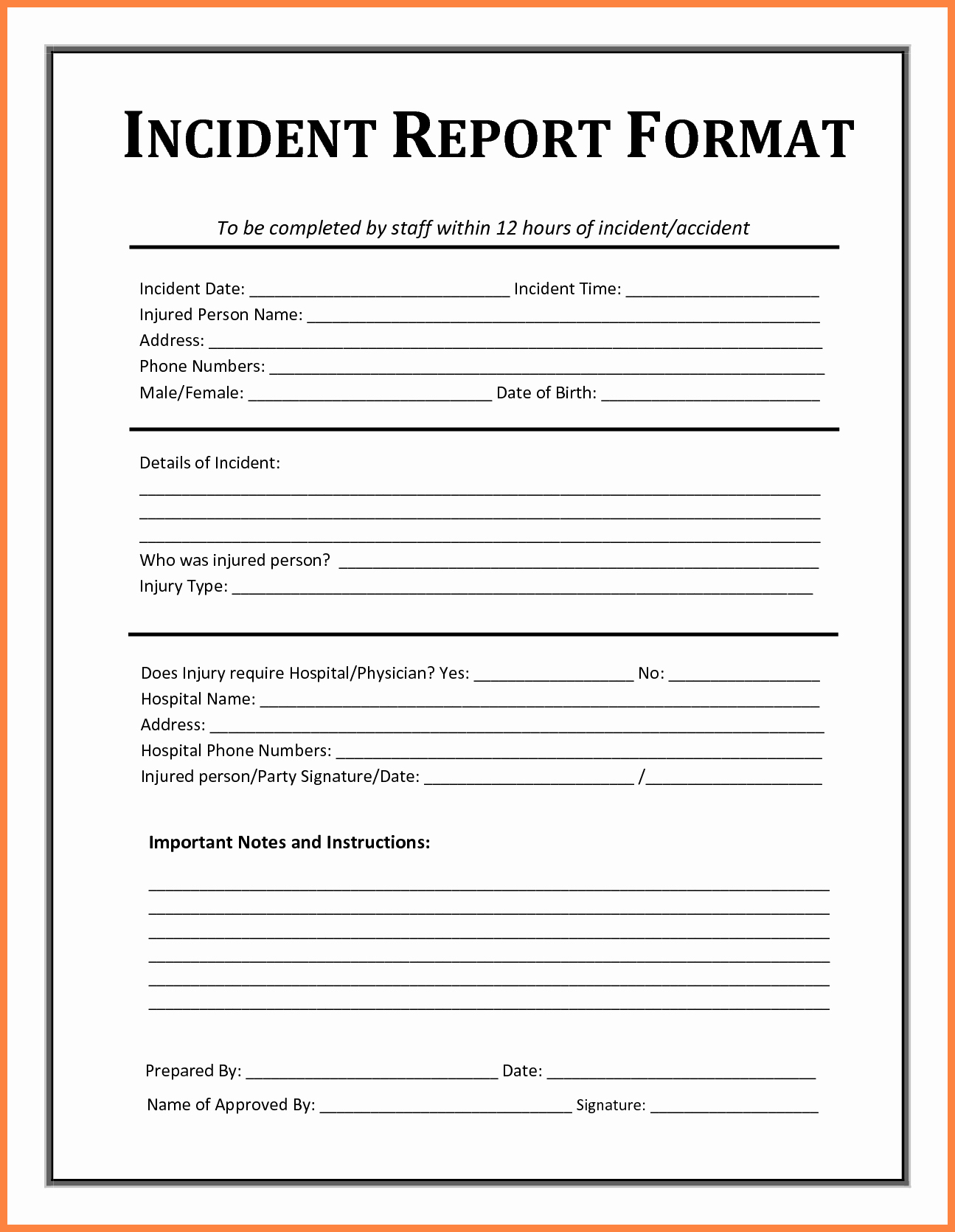 It Incident Report Template Lovely 4 Accident Incident Report form Template