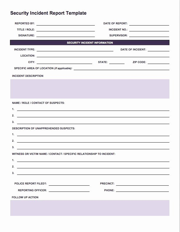It Incident Report Template Lovely Free Incident Report Templates Smartsheet