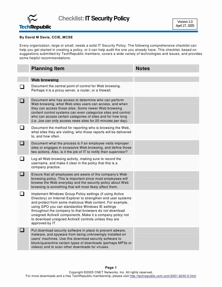 It Security Policy Template Lovely Security Policy Checklist