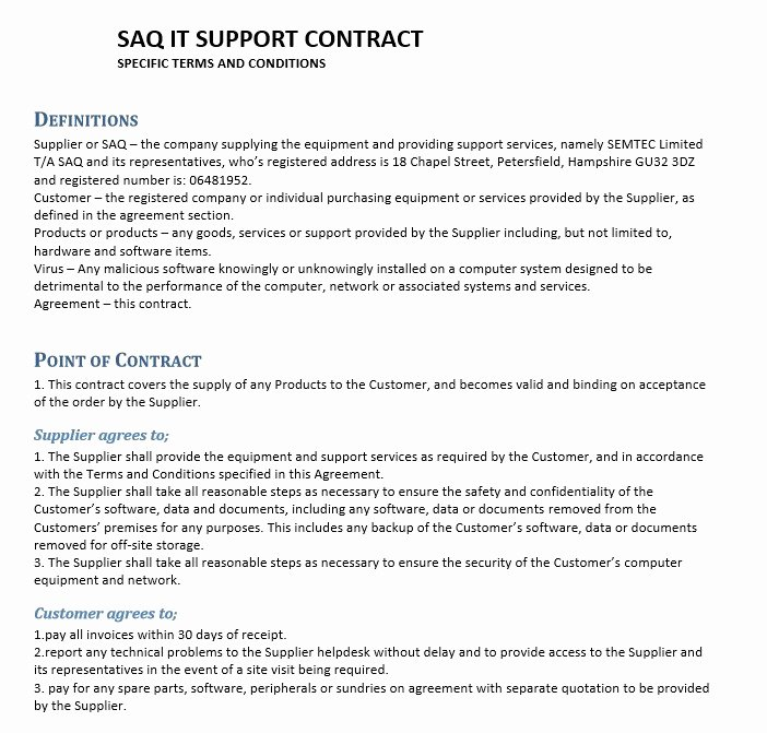 It Service Contract Template Elegant 11 Free Sample Professional It Service Agreement Templates