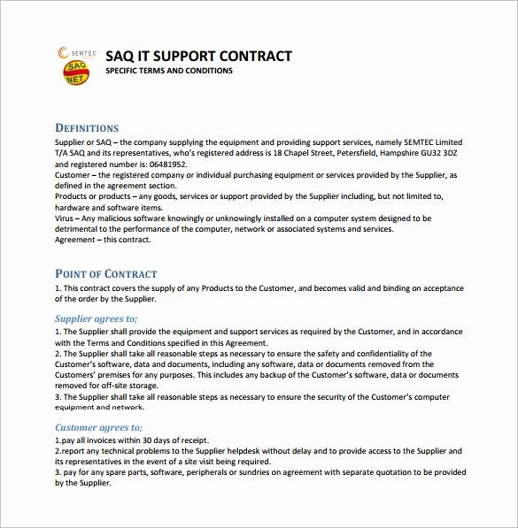 It Service Contract Template Elegant 9 It Support Contract Templates – Free Word Pdf