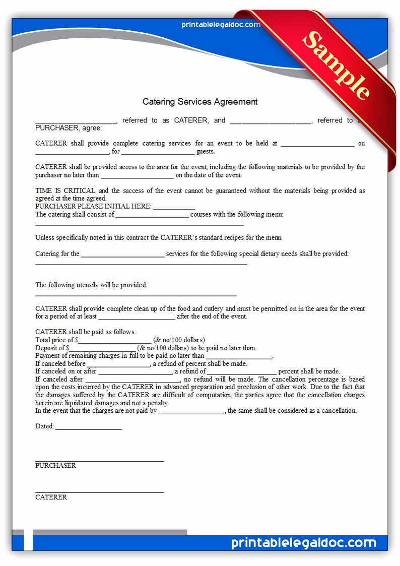 It Service Contract Template Elegant Free Printable Catering Services Agreement form Generic