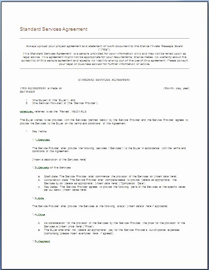 It Service Contract Template Lovely Free Printable It Service Agreement Template form Generic