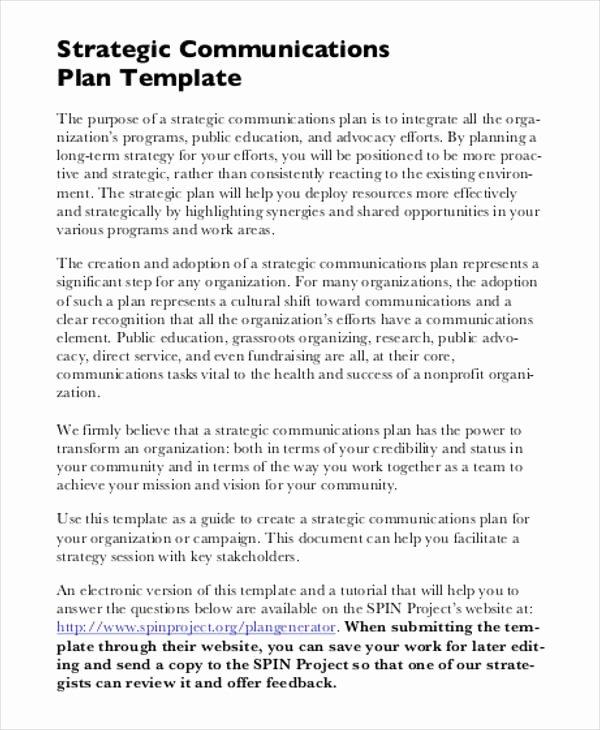 It Strategic Plan Template Elegant Free Strategic Plan 45 Free Word Pdf Ppt format