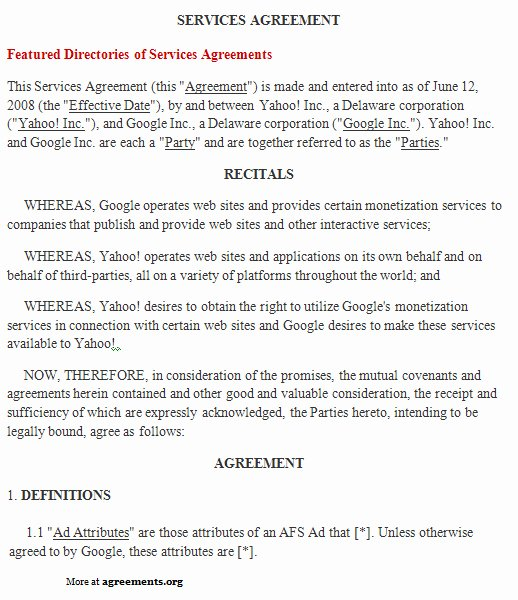 It Support Contract Template Luxury Free Printable It Service Agreement Template form Generic