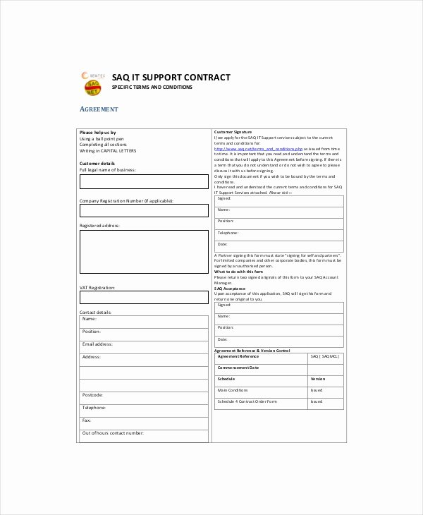 It Support Contract Template Luxury It Contract Template 5 Free Word Pdf Documents