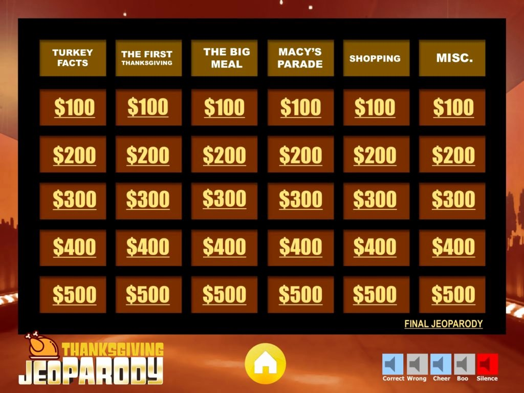 Jeopardy Game Template Ppt Beautiful Thanksgiving Jeopardy Trivia Powerpoint Game Youth