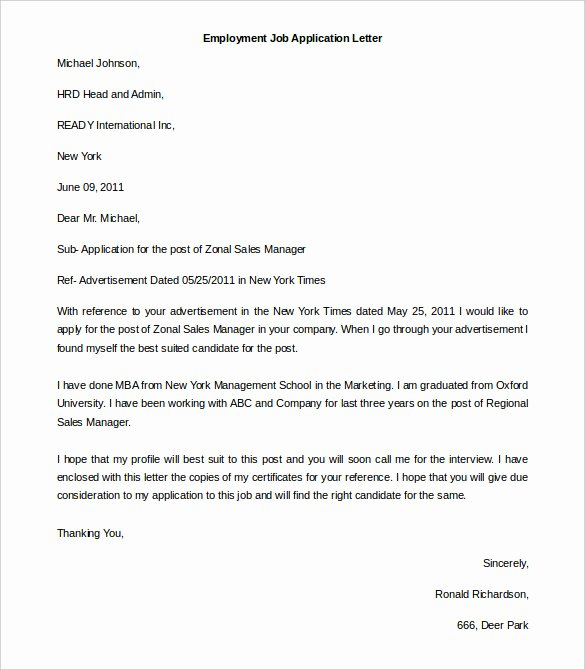 Job Application Template Doc Awesome 11 Free Employment Letter Template Doc Pdf