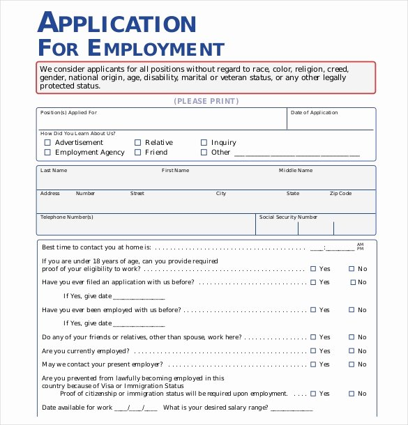 Job Application Template Doc Beautiful 15 Employment Application Templates – Free Sample