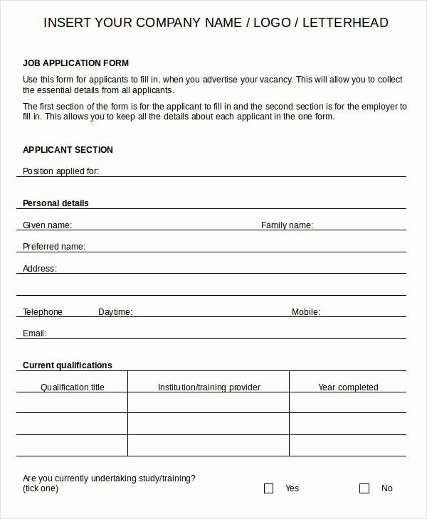 Job Application Template Doc Lovely Blank Job Application 8 Free Word Pdf Documents