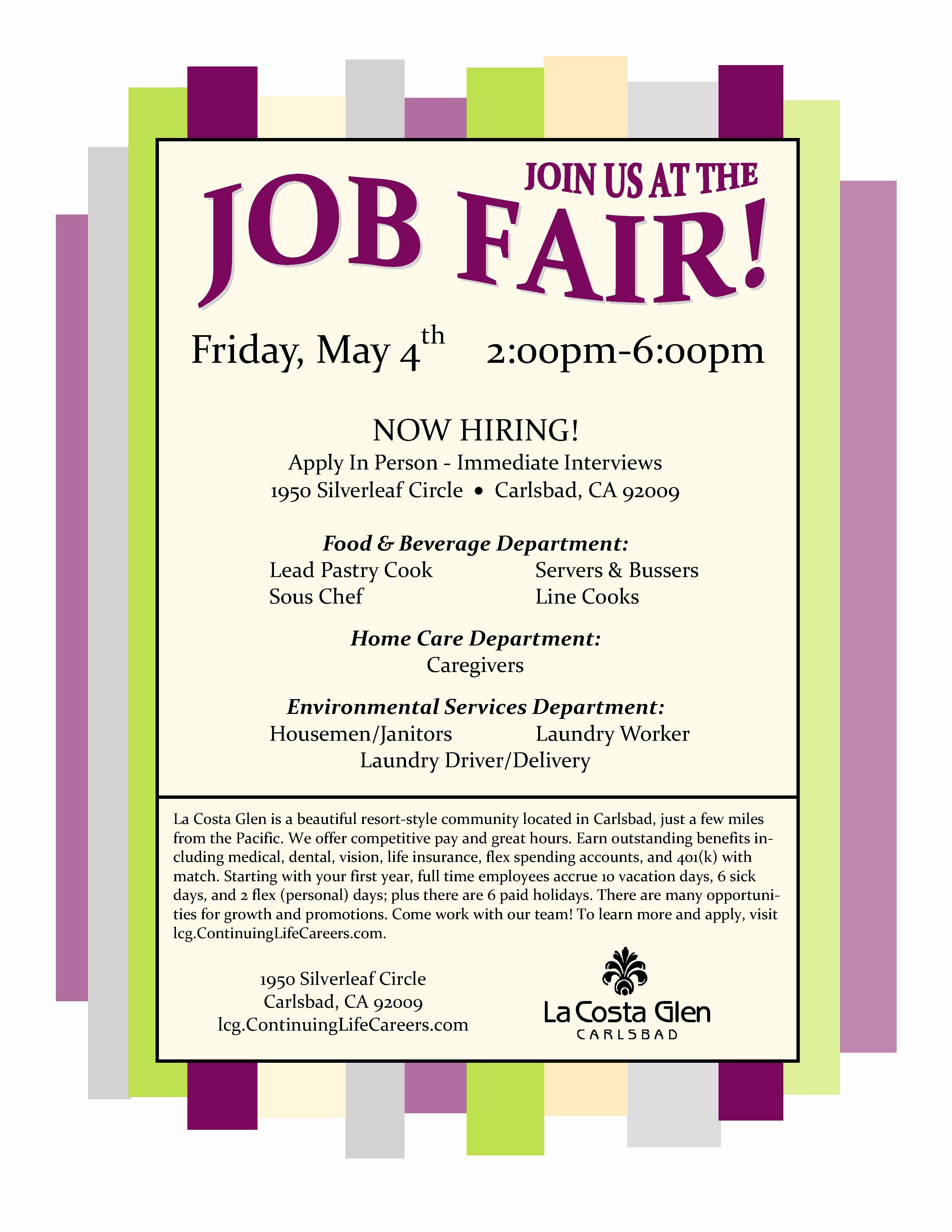 Job Fair Flyer Template Awesome La Costa Glen Job Fair 5 4