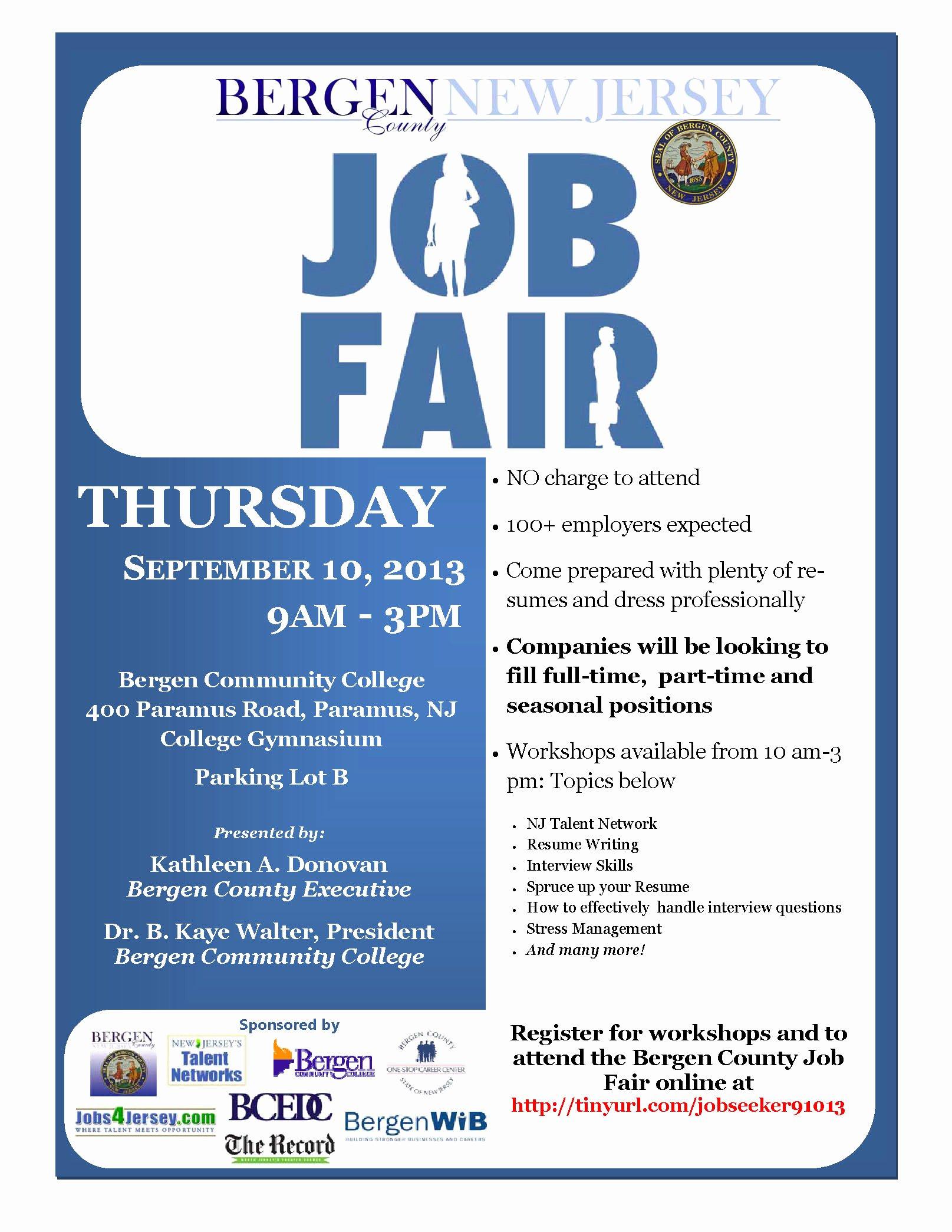 Job Fair Flyer Template Best Of Bergen Munity College Job Fair September 10th