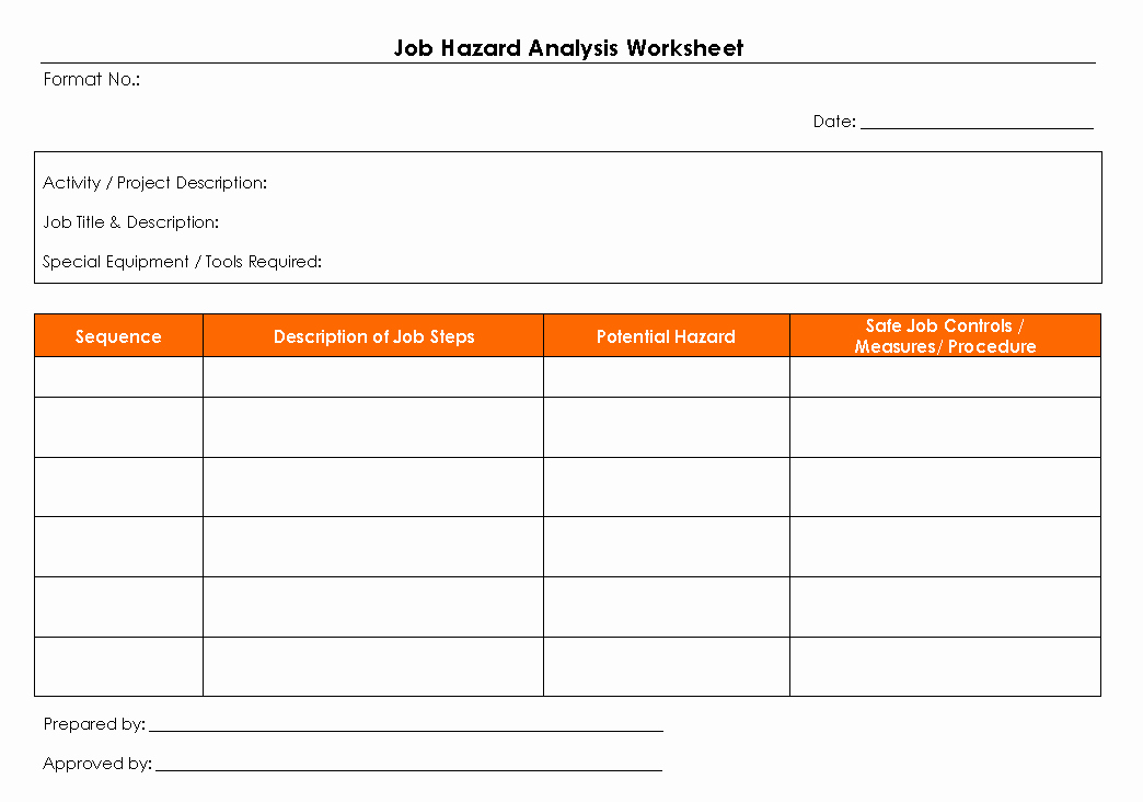 Job Hazard Analysis Template Best Of Job Hazard Analysis Worksheet