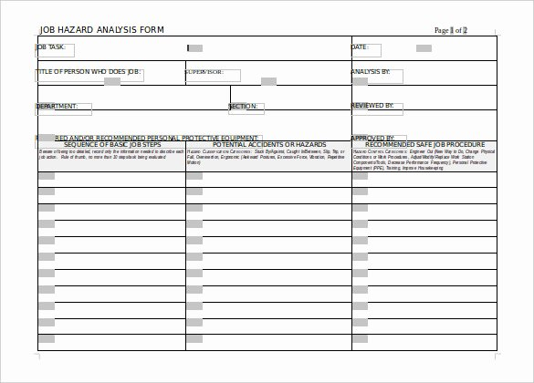 Job Hazard Analysis Template Fresh Hazard Analysis Template – 11 Free Word Excel Pdf