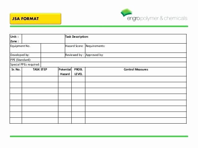 Job Hazard Analysis Template Inspirational Job Safety Analysis format Template Excel – Bbfinancialsfo