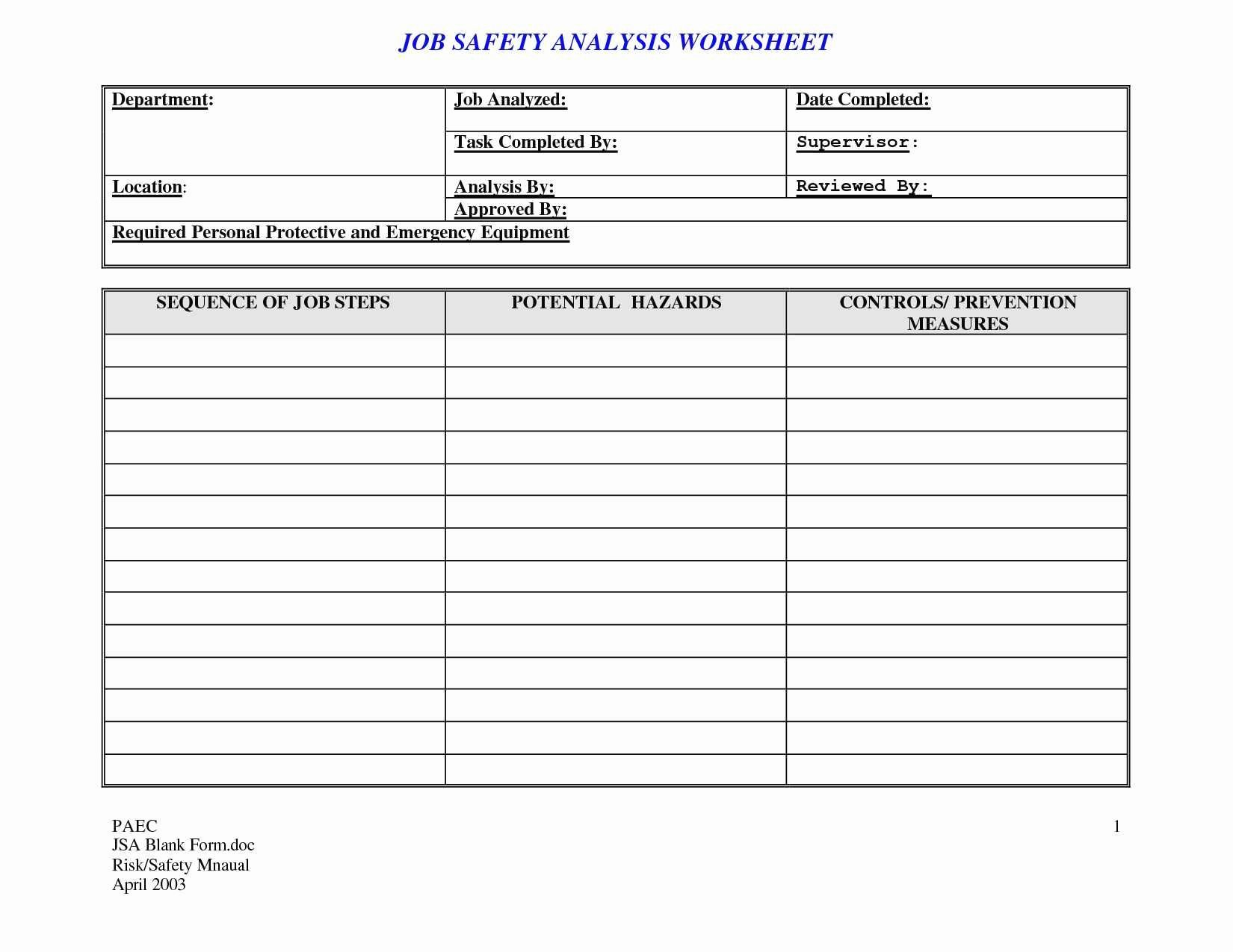 Job Hazard Analysis Template Luxury Job Hazard Analysis Template Excel Unique Cost Analysis