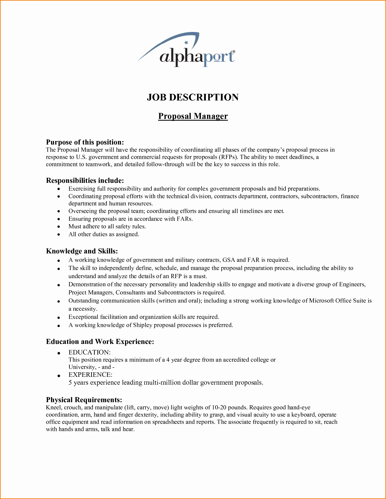 Job Position Proposal Template Best Of 4 Job Proposal Sample