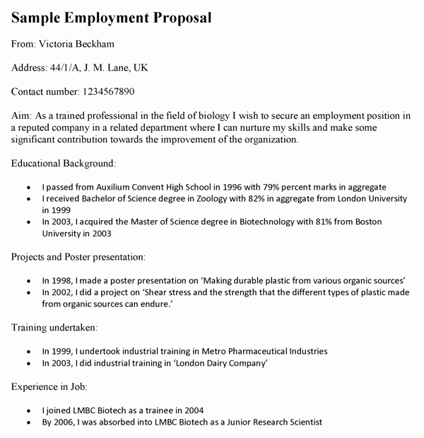 Job Position Proposal Template Elegant Employment Proposal Template