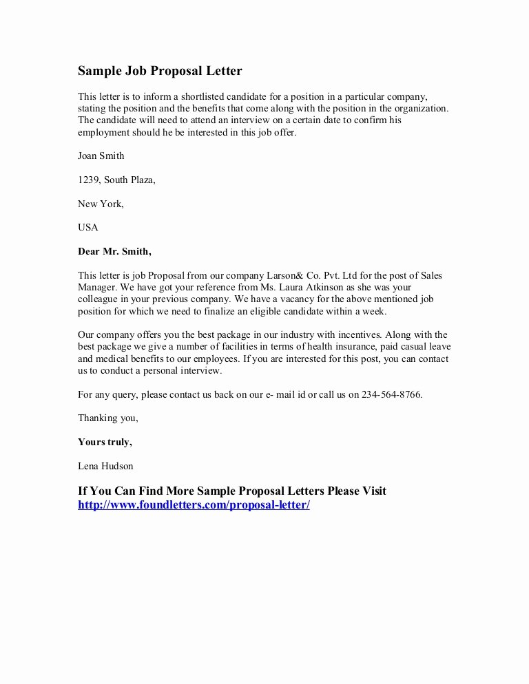 Job Proposal Template Pdf Inspirational Sample Job Proposal Letter