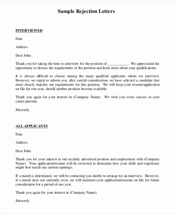 Job Rejection Email Template Beautiful 7 Rejection Letter Templates 7 Free Sample Example