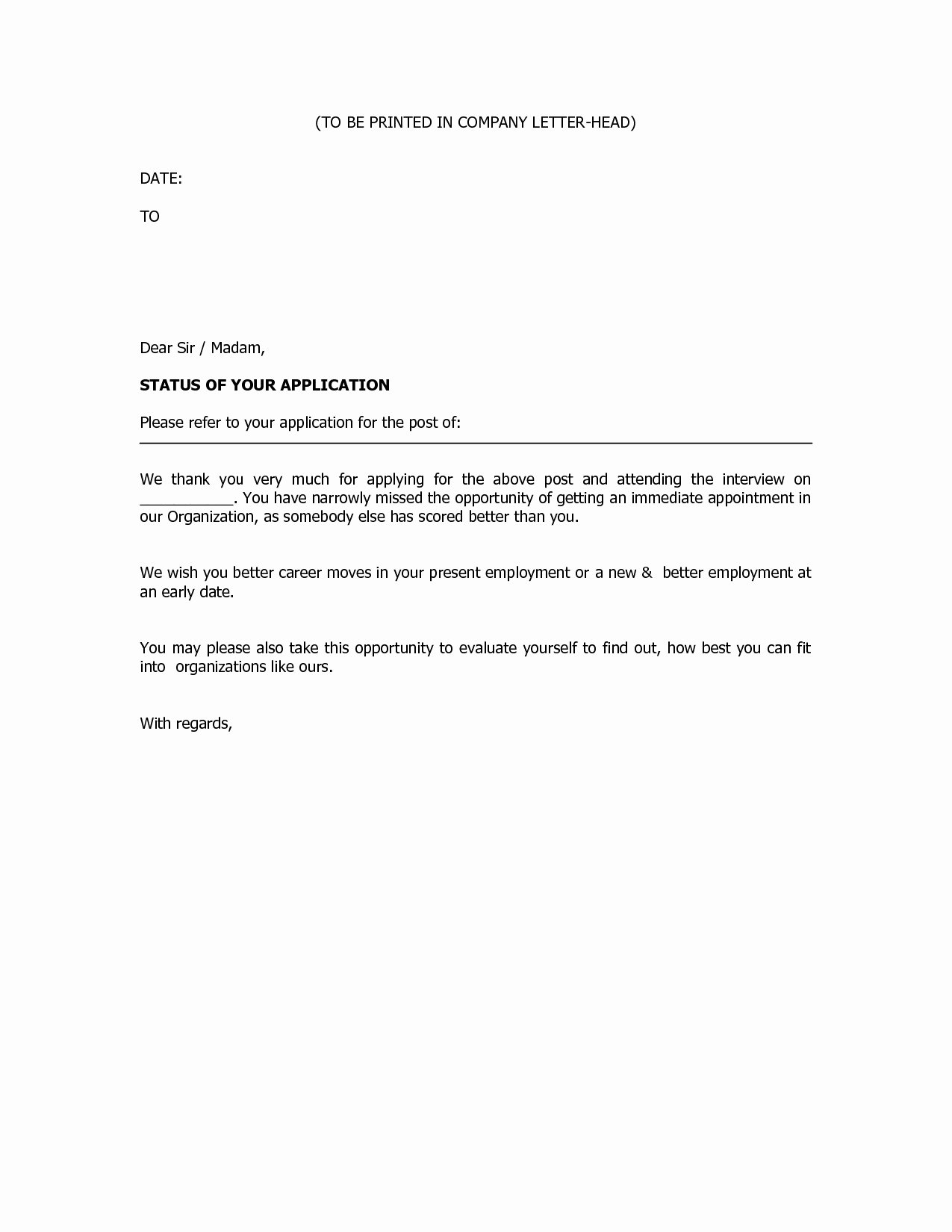 Job Rejection Email Template Best Of Rejection Letter Template after Interview Collection
