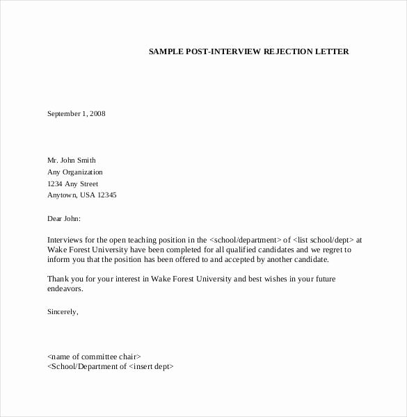 Job Rejection Email Template Elegant Job Interview Rejection Letter Example