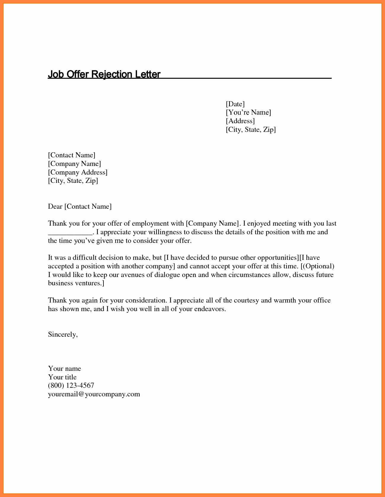 Job Rejection Email Template Fresh 5 Job Offer Rejection Letter