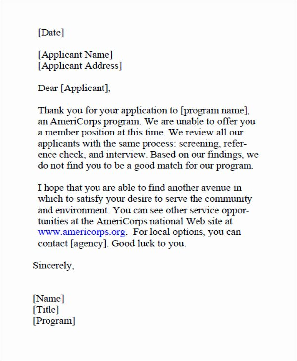 Job Rejection Email Template Inspirational 9 Job Application Rejection Letters Templates for the