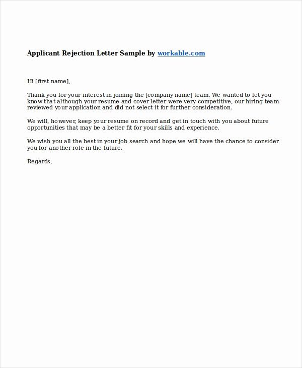 Job Rejection Email Template Inspirational 9 Job Rejection Letters Free Sample Example format