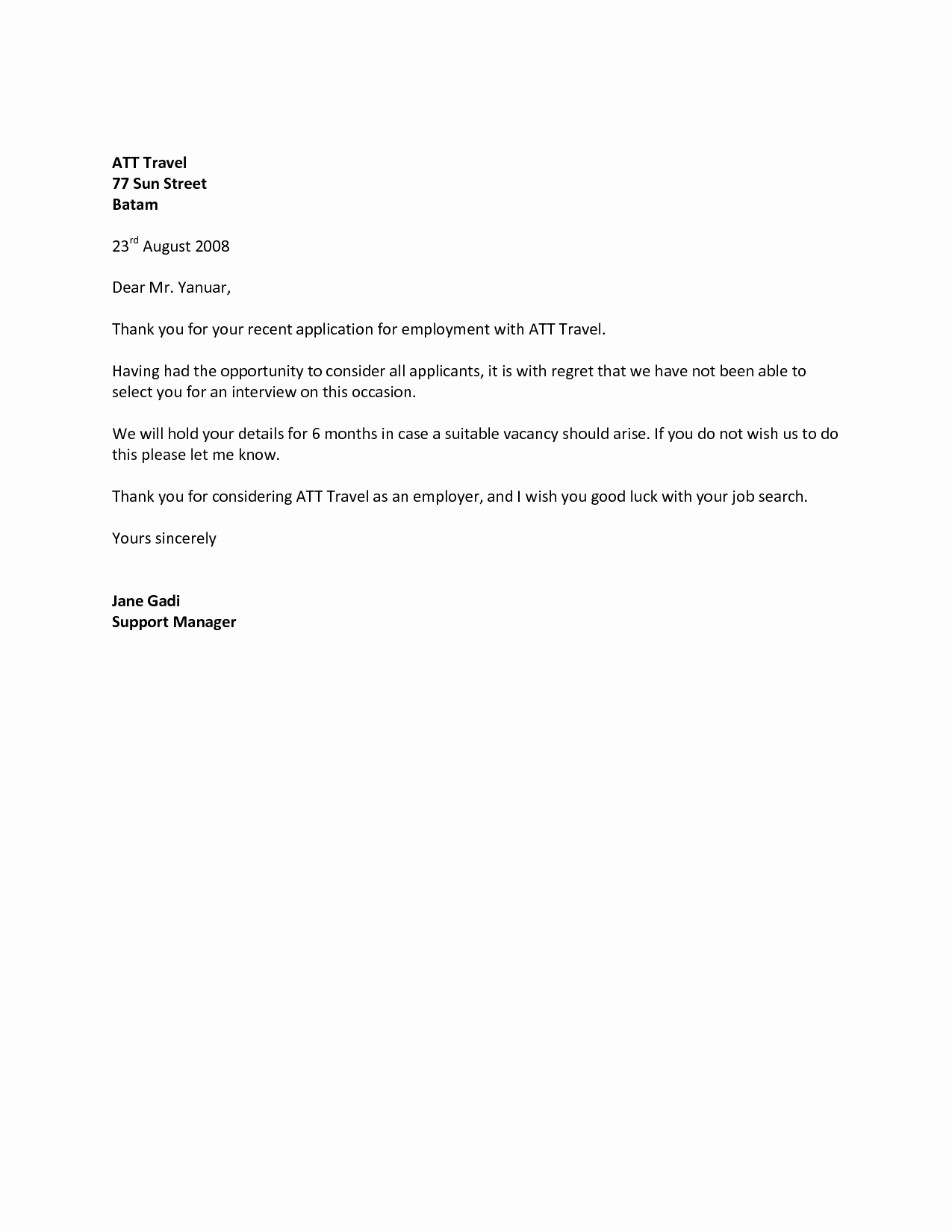 Job Rejection Email Template Inspirational Job Rejection Letter