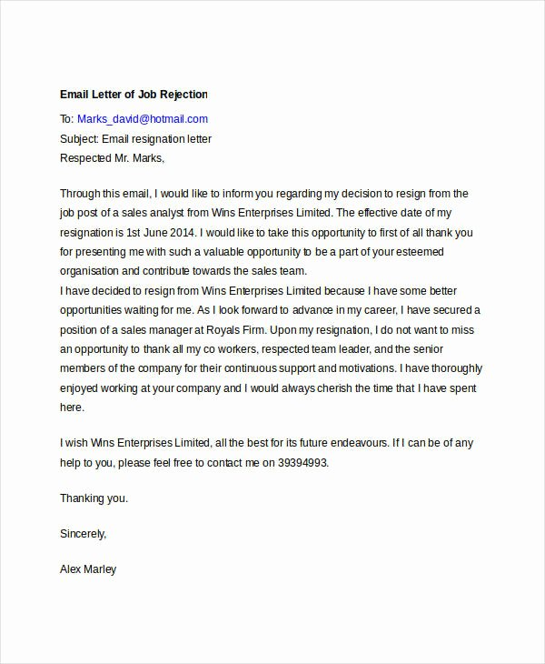 Job Rejection Email Template Lovely 8 Email Rejection Letters Free Sample Example format