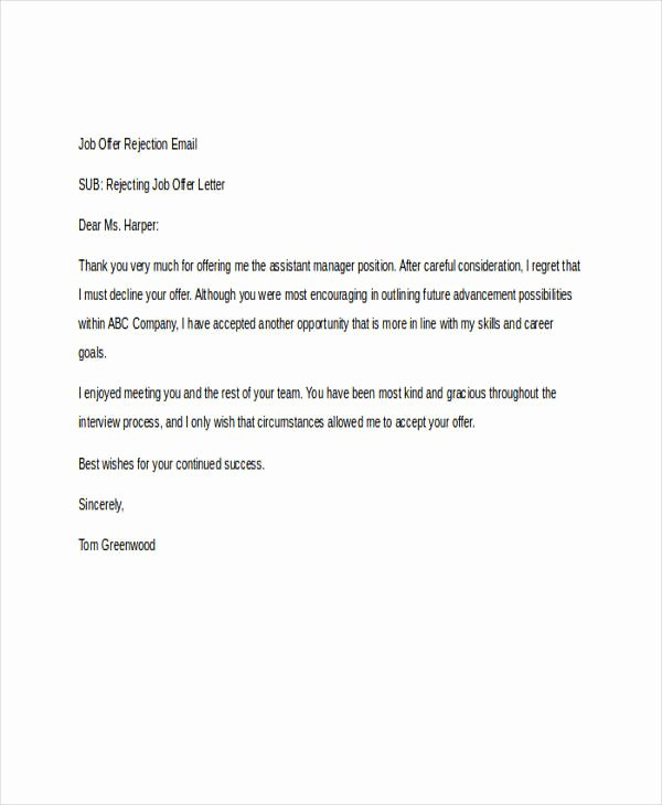 Job Rejection Email Template Lovely 8 Rejection Email Examples & Samples