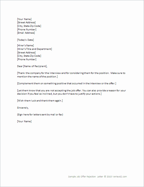 Job Rejection Email Template Luxury Job Fer Rejection Letter Template for Word