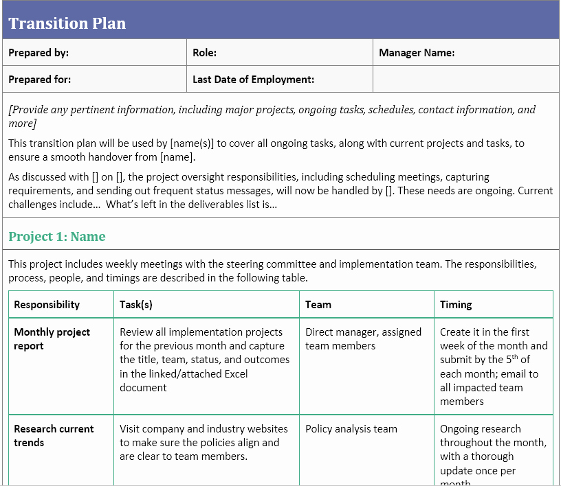 Job Transition Plan Template Awesome Transition Plan Template for when You Ve Resigned