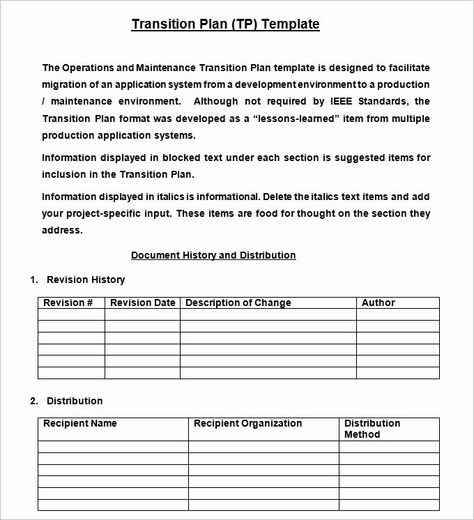 Job Transition Plan Template Inspirational Transition Plan Template Free Word Excel Pdf Documents
