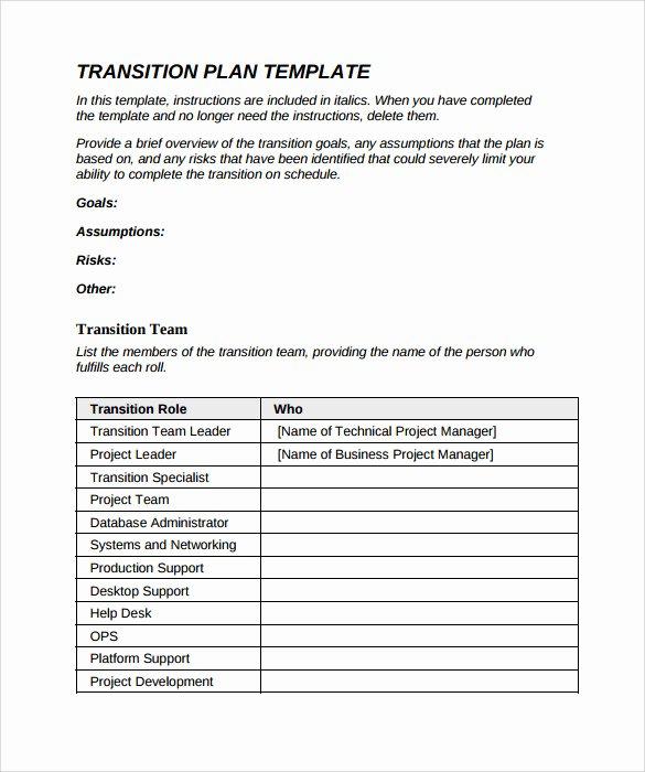 Job Transition Plan Template Unique 9 Sample Transition Plans – Pdf Word Pages