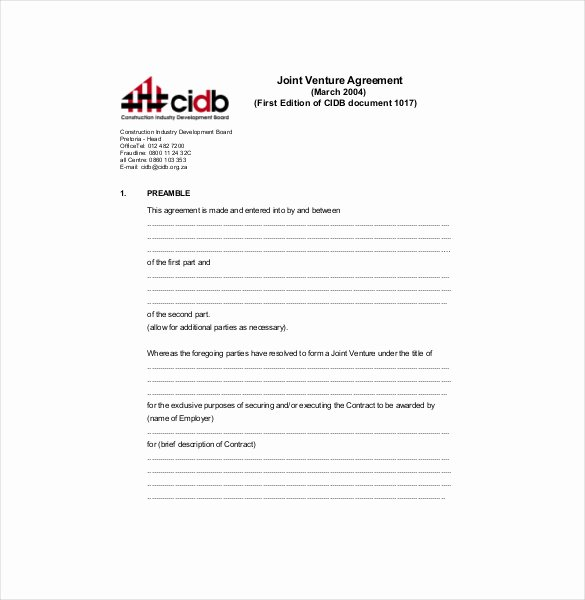 Joint Venture Agreement Template Awesome Joint Venture Agreement Template – 13 Free Word Pdf