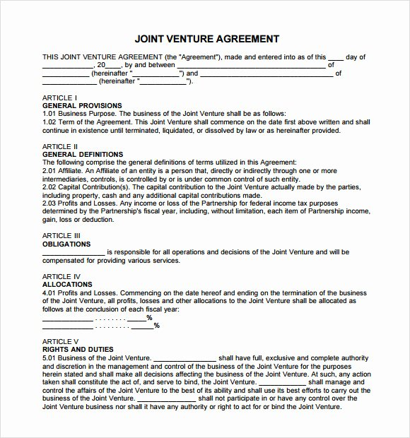 Joint Venture Agreement Template Best Of 11 Sample Joint Venture Agreements