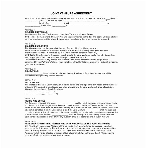 Joint Venture Agreement Template Fresh 10 Joint Venture Agreement Templates – Free Sample