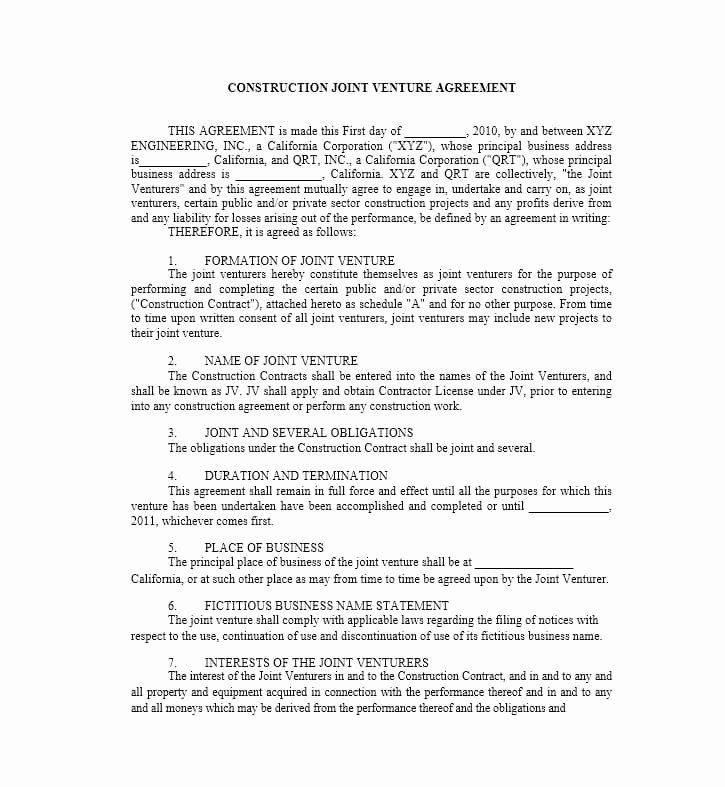 Joint Venture Agreement Template Fresh 53 Simple Joint Venture Agreement Templates [pdf Doc]